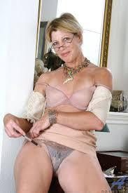 Mature secretary black bra