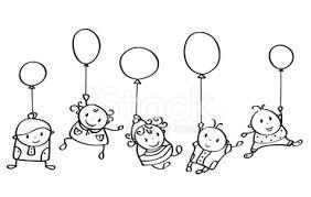 Sagoma Vettore Felice Bambini Cartoni Animati Con Palloncini Stock