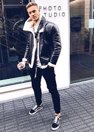 black leather jacket white t shirt with black sneaker