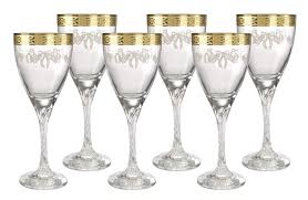 italian crystal wine glasses with 18kt gold plated fl trim