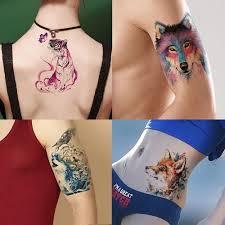 Akvarel Kresba Zvířecí Tattoo Samolepka Tygr Obtisk Krása Dočasné Tetování At Vova