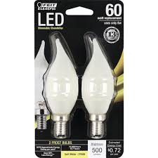 feit electric 60w equivalent dimmable soft white b10 candelabra e12 led bulb 2 pack at menards