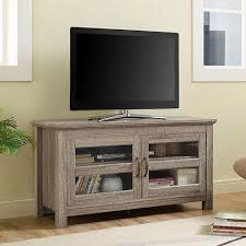 walker edison furniture co 44 inch wood tv stand with glass doors driftwood