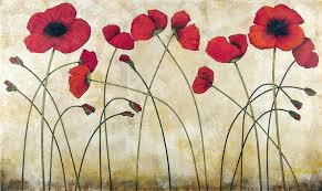 blooming red poppy poppies modern painting