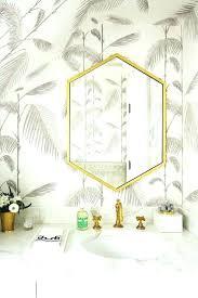 gold hexagon mirror gray bathroom with gold hex mirror contemporary bathroom hexagon wall mirror west elm