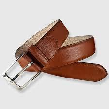 leather belt cognac color 35mm grain