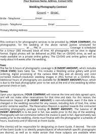 Wedding Contract For Photographers Under Fontanacountryinn Com