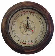 tide clock antique compass 546 rustic wood 9 inch frame tells high low tide
