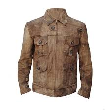 men s distressed leather jacket vintage three quarter long trench coat original innovative leather