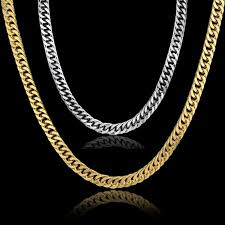 gold chain for men hip hop jewelry snless steel curb chain necklace 3 colors gold color femme jewelery chain whole colar enlight jewelry