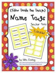 Avery Templates 5390 Editable Nametags 5390 Yellow Doodle Bee Design