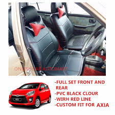 perodua axia back seat 4 pieces custom fit oem car seat cushion cover pvc black colour shining with red line 11street malaysia floor mats