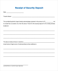 printable rent receipt template printable rental receipt form for down payment or security deposit