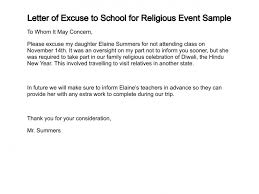 School Excuse Template Letter Of Excuse