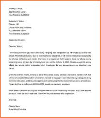 examples of letters of resignation two week notice two weeks notice resignation letter from advertising executive sample