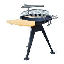 outsunny round bbq grill w cutting board black