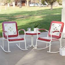 cherry red retro patio pc metal rocker rocking chair set aluminum outdoor rocking chairs set of