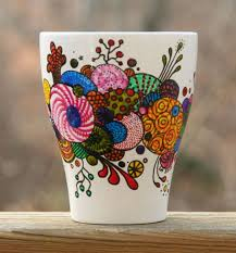 hand painted coffee mug organic abstract by rileymicadesigns 12 00