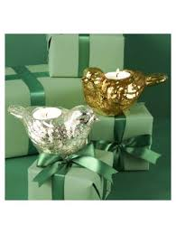 twos company candle holder silver or gold mercury glass bird tealight candleholders