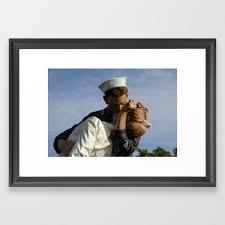 kissing sailor and nurse portrait framed art print by eschulze society6