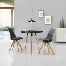 Details Over Encasa Esstisch Schwarz Mit 2 Stühlen Grau ø80cm Essgruppe Kunstleder Stühle