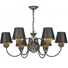 novella 6 light chandelier in black and bronze