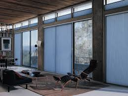 duette architella honeycomb shades on a sliding glass door inside view for at