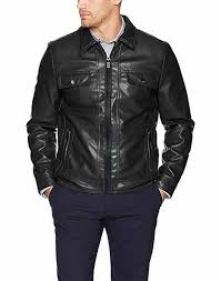 men s soft vegan leather collared jacket