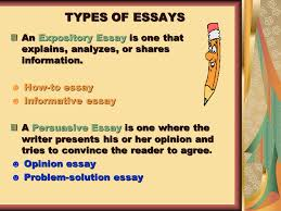 esol and language arts teacher ppt  types of essays an expository essay is one that explains analyzes or shares information