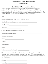 Credit Card Release Form Credit Card Billing Authorization Form Template Word Download