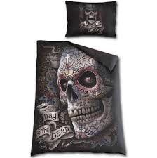 day of the dead duvet cover skull view