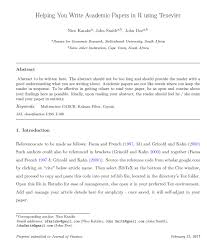 How To Write A Paper Simple Template For Formal Research Papers With The 'Elsevier' 'Latex