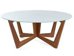 round solid wood and glass coffee table