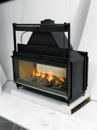 double sided wood burning fireplace insert with er stainless steel work table 30 gallon trash