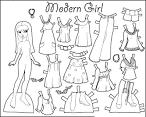Бумажная кукла для вырезания с одеждой раскраска