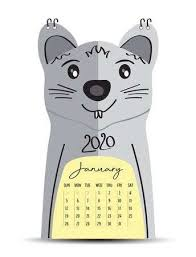 Chinese Calendar January 2020 Desk Calendar 2020 On Rat Cartoon Character Frame January 2020