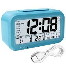 digital alarm clock backlight lcd morning clock travel alarm clock with 3 alarms thermometer calendar large display smart nightlight soft light snooze