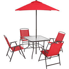 patio dining set folding chairs outdoor furniture metal frame umbrella red
