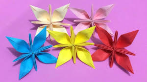 How To Make Origami Paper Flower How To Make Origami Flower With Color Paper Diy Paper Flowers Making