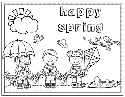 Pack these spring printables into a picnic basket for a family outing. Happy Spring Free Spring Coloring Page Printable For Kids