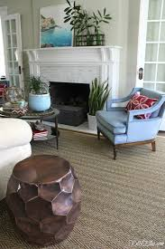 beautiful living room in shades of blue love the seagrass rug and vintage blue velvet
