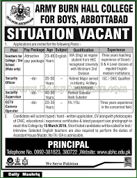 teachers security officer security supervisor cctv camera teachers security officer security supervisor cctv camera operator jobs in army burn hall college abbottabad