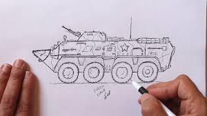 Как нарисовать Ручкой Военную Технику БТР - YouTube
