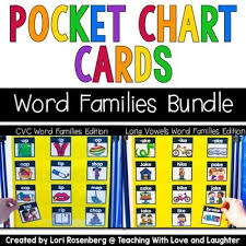 Word Families Pocket Chart Cards Bundle Cvc Words And Long Vowels