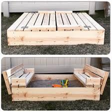diy sandbox with fold out seats
