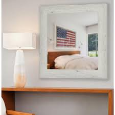 white washed vanity square antique mirror