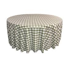 la linen 132 in white and apple polyester gingham checd round tablecloth