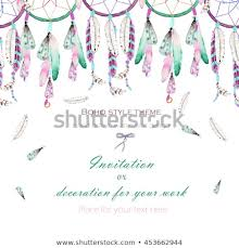 Where To Place Dream Catchers Simple Background Template Postcard Watercolor Dream Catchers Stock