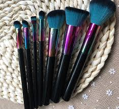 2017 newest color makeup brush 7pcs professional make up brushes gradually discoloration of colour blusher foundation bb cream eye shadow