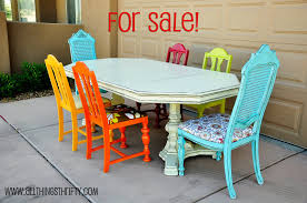 exciting colorful dining chairs with saloom furniture and antique dining table for enchanting dining room design